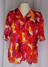 Covington Womens Top XL Accordian Pleat Top Bright Yellow Pink Purple Orange