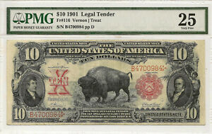 1901 $10 BISON LEGAL TENDER Fr#116 ~ NICE PROBLEM-FREE PMG VF25 ~ PRICED RIGHT!
