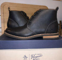 Original Penguin Hank Chukka Boots in Black Leather Sz 8 New In Box!!