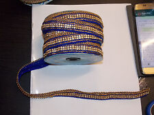 1m BLUE Diamonte crystal cake decoration dance wedding ribbon mesh rhinestone