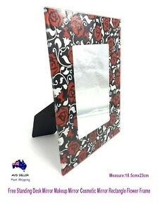 Free Standing Desk Mirror Makeup Mirror Cosmetic Mirror Rectangle Flower Frame