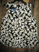 NWT WORTHINGTON BLOUSE SLEEVELESS WOMEN'S MEDIUM V-NECK BLACK & WHITE FLORAL