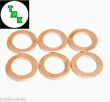 M10 X 16mm 10mm Copper washers. 6 pack. Suitable for Banjo bolts & Fittings