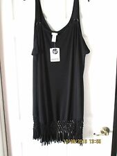 Dotti Swimsuit Cover Up Dress,Black, Plus Size, 3X, Scoop,Woven Fringed Bottom