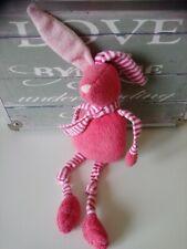 Doudou peluche lapin rose rayé rose blanc Boutchou Bout'chou Monoprix + cadeau