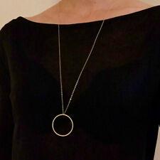 UK BOHO STATEMENT DISC CHARM PENDANT LONG NECKLACE Gold Chain Fashion Jewellery