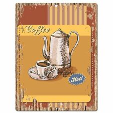 PP0551 Hot Coffee Plate Chic Sign Bar Store Shop Cafe Restaurant Kitchen Decor