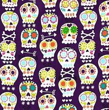 Michael Miller Bone Head White Skulls on Purple Cotton Fabric - FQ