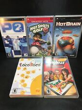 Sony PSP 5 Game Lot LocoRoco Blokus PQ2 Hot Shots Golf Open Tee Hot Brain Games