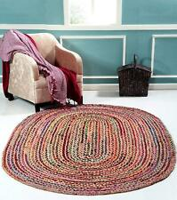 Braided Oval Area Rug Floor Natural Recycled Cotton Woven  Rag