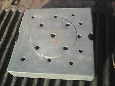 """6RR69 LAMP BASE WEIGHT, ABOUT 9"""" SQUARE, 2"""" TALL, 10#4 NET WT, 1/2"""" BORE, VGC"""