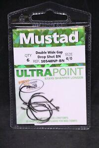 6 Pack Mustad Black Nickel 10548NPBN-40 Double Wide KVD Drop Shot Hooks Size 4/0