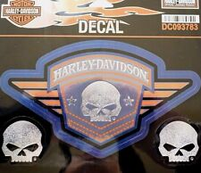 Genuine Harley Davidson Blue & Orange Willie G Skull Decal Sticker DC093783