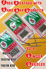 30 X Agujas De Máquina De Coser Singer Doméstica > Talla 14,16 y 18 > 10 de cada > Vintage