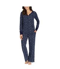 f544f8b066 Nautica 2 PC Womens Sleepwear Set Microfleece Navy Blue Dots Sz S