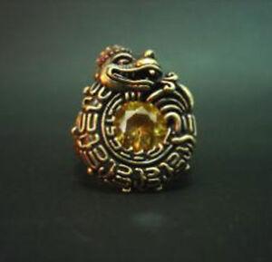 Bronze Old Norse Dragon Ring Yellow Crystal Custom Sized Mythology R96b
