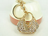 KC023 N Handbag Keyring Cute Rhinestone Crystal Charm Pendant KeyChain Gift Bag