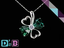 Elegant Green Lucky Four Leaves 925 Sterling Silver CZ Pendant .925 Fine Jewelry