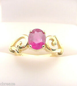 NATURAL RUBY FINE RED COLOR 1.34 CTS 14K GOLD RING
