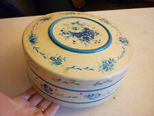 "Vintage Kitchen 8"" Metal Tin Trinket Box - Candy Cookies White Blue Round Floral"