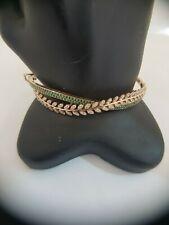 18Carat Rose Gold Diamond and Zambian Emerald Circle Hinged Bangle 1.61 carats