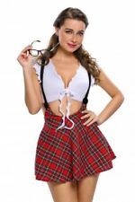 ladies sexy SCHOOL UNIFORM  ladies school girl costume RED TARTAN dress 8-10