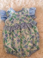 Cuties By Judy Vintage Floral Flutter Sleeve Romper Dot White Blue 6/9 Mo Easter