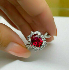 Delicate 4Ct Oval Cut Red Ruby Halo Vintage Engagement Ring 14k White Gold Over