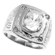 Mens Classic Oval Dome 2.71ct CZ & Crystal Silver Rhodium EP Ring Size 11