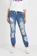Cotton On Ripped Distressed Denim Jogger Jean Indigo Blue Size 8 Womens New!