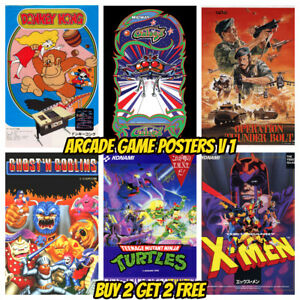 ARCADE GAME POSTERS Vintage Retro Game Room Flyers Decor Wall Kids Gaming