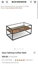 VASAGLE LCT30BX Tempered Glass Rustic Coffee Table - Brown