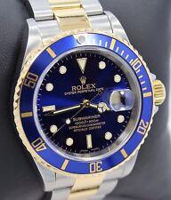Rolex Submariner 16613 18K Yellow Gold /Steel Blue Bezel Watch BOX/PAPERS *MINT*
