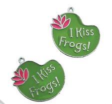 4 I Kiss Frogs Enamel Charms - Fun - Craft - Jewelry - New