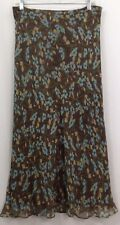 Charter Club Womans Size 8 Skirt 100% Silk Brown Blue Floral Lined Midi 528D