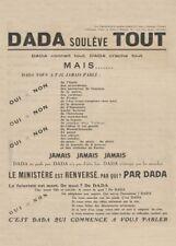 DADA soulève TOUT, 1921, TRISTAN TZARA Reproduction Avant-Garde Dada Poster