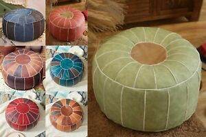 Moroccan PU Leather Pouf Embroider Craft Hassock Ottoman Footstool Home Decor