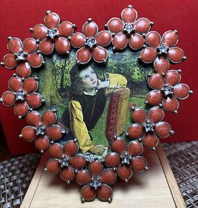 Vintage Frame Metal Heart  Swarovski Crystals and Red Enamel Petals STUNNING!