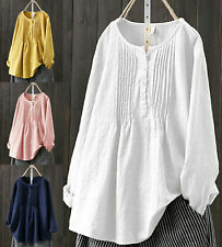 Women Summer long Sleeve Baggy Tops Ladies Cotton linen T-shirt Blouse Plus Size