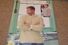 "Sirdar Sweater Knitting Pattern 9084 Click Aran Sweaters 24-46"" Men"