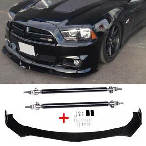 For Dodge Charger RT SRT SXT Car Front Bumper Lip Spoiler Splitter & Strut Rods