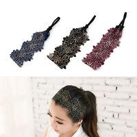 Women Flower Lace Headband Head Wrap Hair Band Twist Knot Elastic Headwear