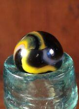 "Vintage 9/16"" Peltier Marble Machine Made Black White Yellow"