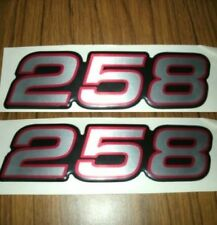 258 Decals (Silver w/ Rd & Blk Outline)