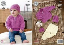 King Cole Aran Knitting Pattern 4645:Childrens Sweater,Trousers,Hat & Mittens