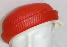 Vintage Nina Ricci Pillbox Hat red straw Ec Jackie O 21.5""