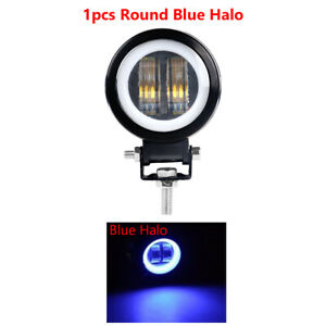 1X 3in 20W LED Work Light Pods Spot Offroad Round Blue Halo Fog SUV ATV Driving