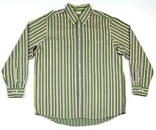 (L-7324) Lacoste Mens Long Sleeve Green Pink Stripes Button Down Shirt Size 44