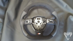 Steering Wheel AUDI A3 Q5 Sline Paddles Flat Bottom extra THICK Alcantara