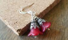 Flower earrings dangle Silver silvertone Red Lucite Handmade USA Seller